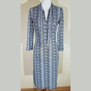 Vintage BCGB Snakeskin Print Tie Neck Dress